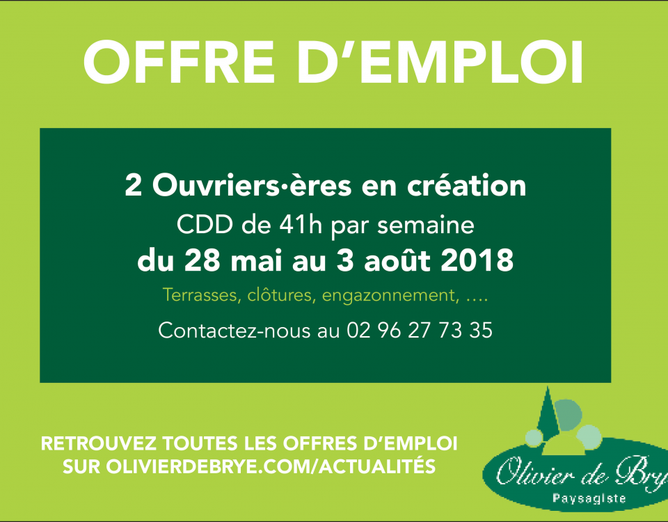 olivier de brye recrute un e ouvrier  u00e8re en cr u00e9ation